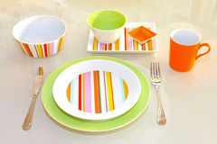 Green tableware Royalty Free Stock Photos