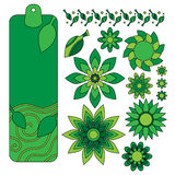 Green tag, leaf and flower collection Royalty Free Stock Images