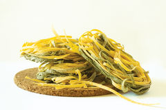 Green Tagliatelle. A pile of spinach tagliatelle Stock Images