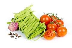 Green tagliatelle Stock Photos