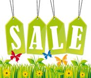 Green tags. Green sale tags with grass and butterfly. vector illustration Stock Illustration
