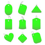 Green tags. 100% vectors - white tags, labels Stock Photo