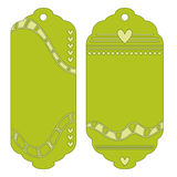 Green tags or labels with hearts Stock Image