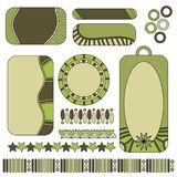 Green tags, labels, hearts and trims Royalty Free Stock Photography