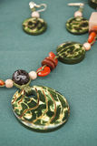 Green Tagua Nut Jewelry Set Royalty Free Stock Images