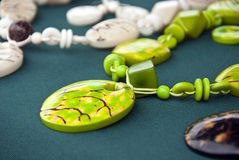 Green Tagua Nut Jewelry Set Stock Photos
