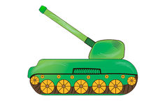 Green tank children picture style Stock Image