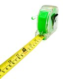 Green tape measure. Green color tape measure isolated over white Royalty Free Stock Photo