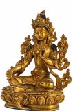 The Green Tara Syama Tara statuette. The The Green Tara Syama Tara statuette isolated on the white background royalty free stock images
