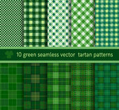 Green tartan plaid pattern seamless collection.  Vector background Royalty Free Stock Photos