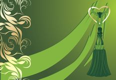Green tassel on the decorative background Stock Image