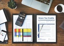 Green Tax Credits Investment Saving Debates Concept. Green Tax Investment Credits Concept royalty free stock photos
