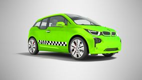 Green taxi electric car isolated 3d render on gray background wi. Th shadow vector illustration