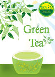 Green Tea 100 Percent Organic_eps. Illustration of leaves, cup of green tea, 100% organic  with sunny day background Stock Images