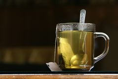 Green tea. Cup of a green tea, with dark background royalty free stock images