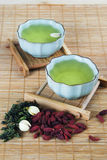 Green tea. Two cups filled with green tea Royalty Free Stock Images