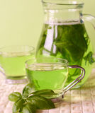 Green tea. With herbs, close-up Royalty Free Stock Image