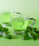 Green tea. With herbs, close-up Stock Images