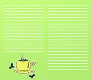 Green tea. Background of green tea with list vector illustration