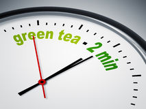 Green tea - 2 min. An image of a nice clock with green tea - 2 min Royalty Free Stock Photos