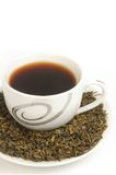 Green tea. White cup filled with green tea Stock Photography