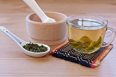 Green tea. In a glass cup and dried tea in the chinese spoon royalty free stock photos