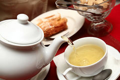Green tea. The green tea with pastry in restaurant Royalty Free Stock Images