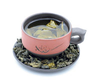 Green tea. In a ceramic cup on a white background Stock Photos