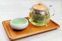 Green Tea. A glass of green tea Stock Photo