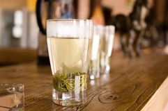 Green tea. In four glasses Royalty Free Stock Images