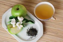 Green tea and apple Stock Photos