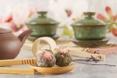 Green tea and attributes for tea ceremony - a ceramic teapot, cups, a strainer, chopsticks and tweezers royalty free stock photos