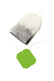 Green Tea Bag. With Blank Label on White Background royalty free stock photos