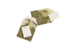 Green Tea Bags. Two Green Tea Bags on a white background stock photo
