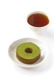 Green tea baum cake Stock Photo