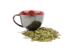 Green Tea With A Black Cup Stock Image