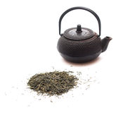 Green tea and a black japanese teapot Stock Images