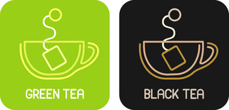 Green Tea and Black Tea Stock Images
