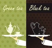 Green tea and black tea Royalty Free Stock Image