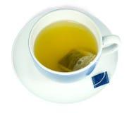 Green tea in a blue cup Stock Photos