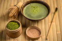 Green tea in bowl Stock Image