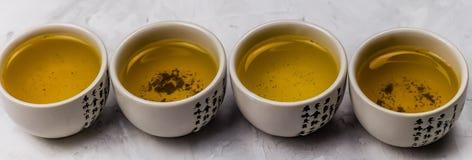 Green tea bowls. Row banner royalty free stock photos