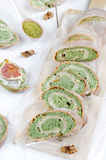 Green tea bread with almonds Royalty Free Stock Images
