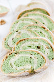 Green tea bread with almonds Stock Photos