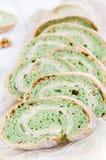 Green tea bread with almonds Stock Photos