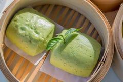 Green tea bun. Bun that made from tea leaf from Chui Fong Tea Garden Stock Image