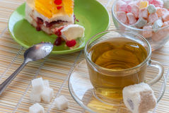 Green tea and cake Stock Image