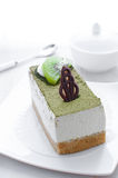 Green tea cake dessert piece Stock Photography