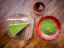 Green-Tea and Cake Royalty Free Stock Images