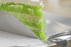Green tea cake on plate Stock Photos